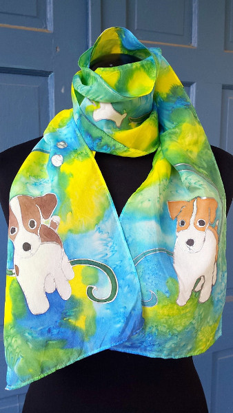 Hand-painted Jack Russell Terrier Silk Scarf is the perfect addition for the JRT lover's wardrobe.