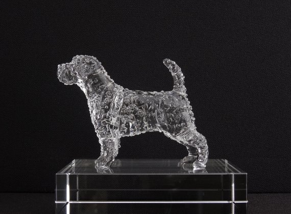 Glass Jack Russell Terrier Scuplture