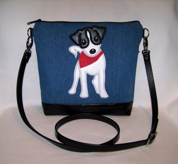 Jack Russell Terrier Blue applique Purse