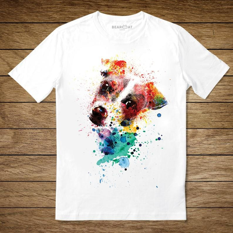 coloful Jack Russell on a white Tshirt