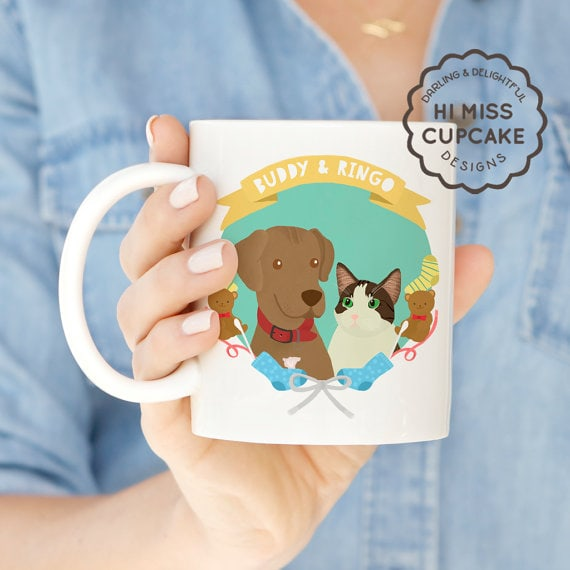 Pet Faves   Personalized Pet Mug   Facing the day can be hard, coffee helps. Help your favorite pet lover start of the day right by giving them a mug featuring a custom hand drawn portrait of their pet. They'll be so delighted they'll have to switch to decaf!