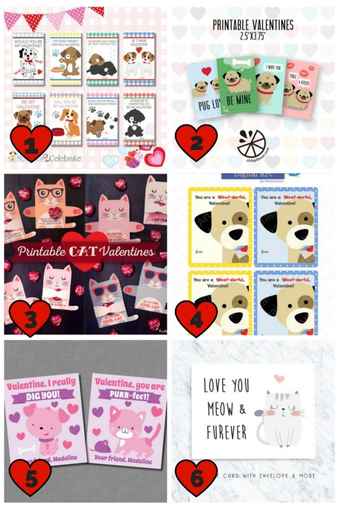 Dog and Cat Valentine Cards | Pet Valentine Cards | Printable Valentine Cards