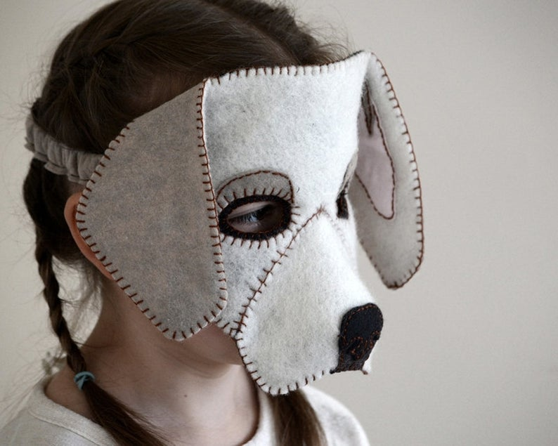 Felt dog mask made with a downloadable pattern