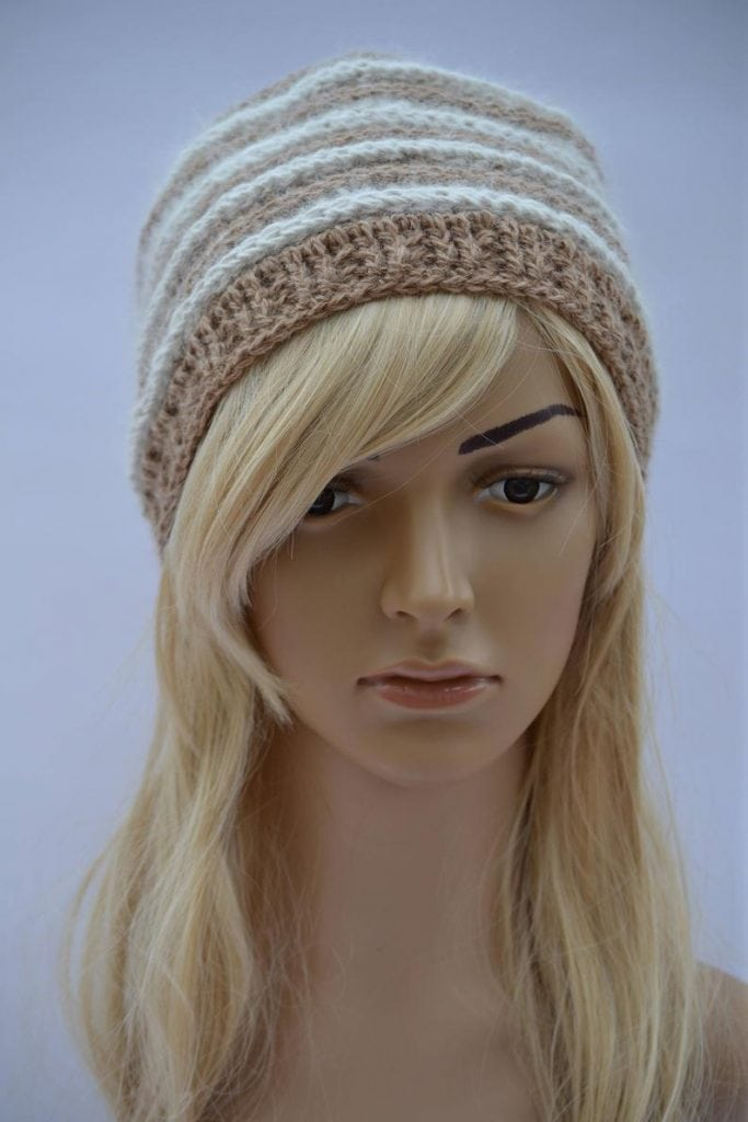 Chiengora cap knitted using dog hair on mannequin head