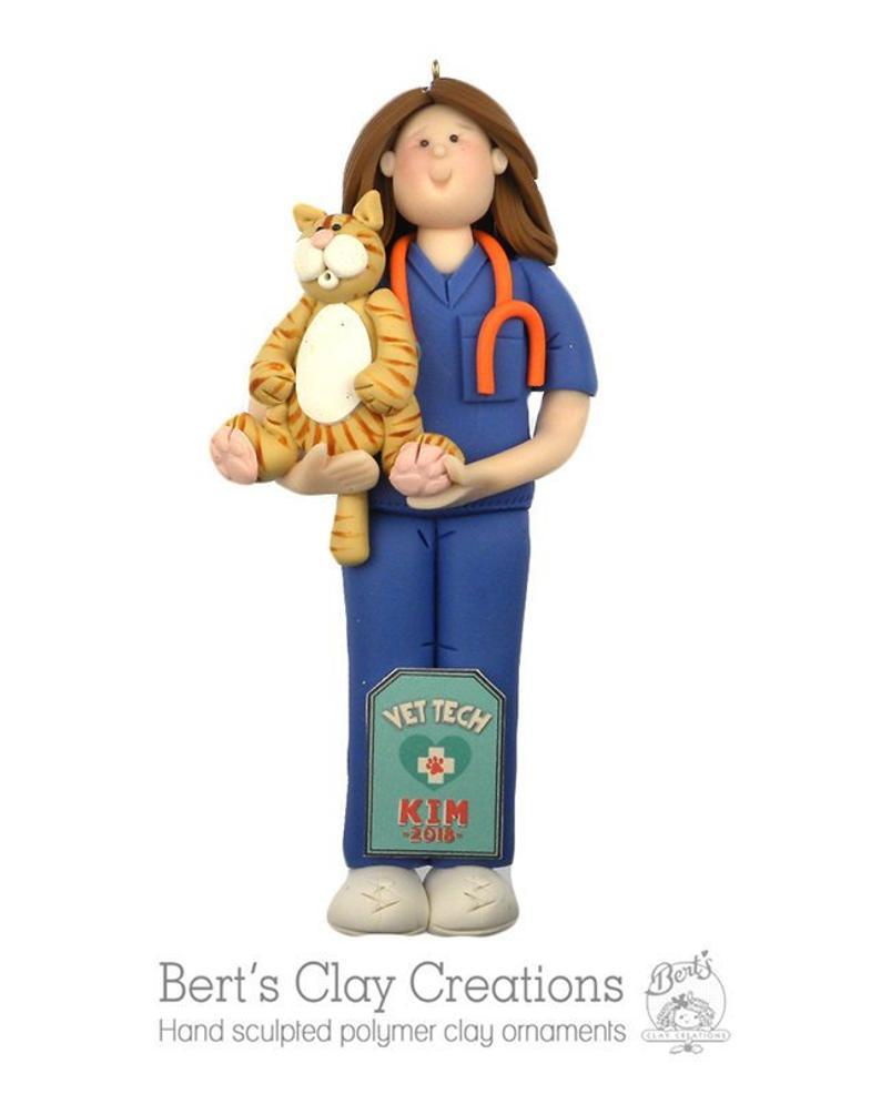 Handmade clay veterinarian ornament