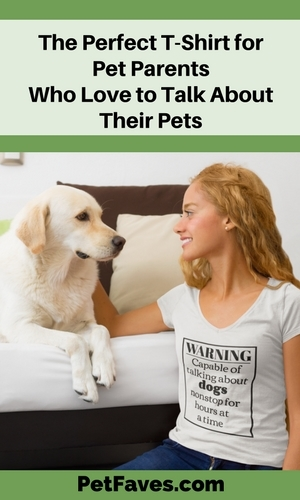 girl wearing Warning: Capable of Talking About Dogs Nonstop for Hours at a Time T-shirt and petting her Labrador Retriever