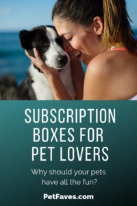 woman hugging dog on image for subscription boxes for pet lovers