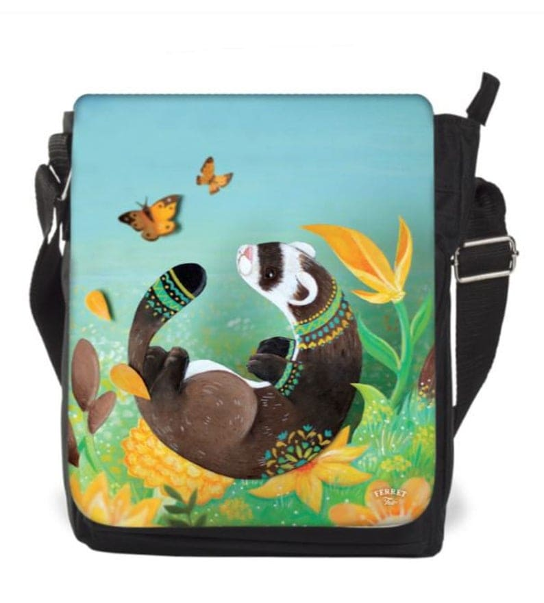 Messenger bag with ferret and flowers painted on